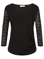 Windsmoor Jersey And Lace Top Black