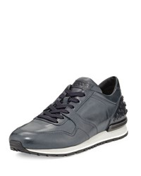 Tod's Burnished Leather Trainer Sneaker Navy