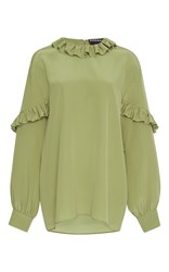 Rochas Ruffle Neck Blouse Green