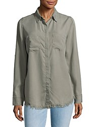 Beach Lunch Lounge Frayed Trimmed Shirt Olive