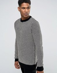 New Look Textured Jumper With Crew Neck In Black And White Black Pattern