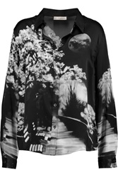 Mary Katrantzou Printed Silk Satin Shirt Black