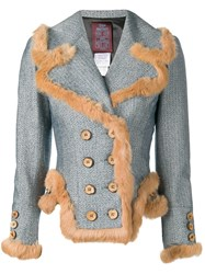 John Galliano Vintage Fur Trim Double Breasted Jacket Blue