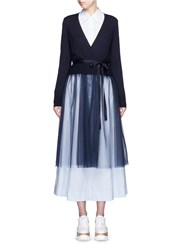 Muveil Wool Blend Wrap Cardigan Tulle Skirt Dress Blue