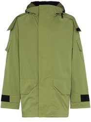 Yves Salomon Bachette Fur Lined Hooded Coat Green