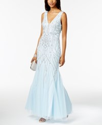 Xscape Evenings Embellished Mermaid Gown Blue Silver