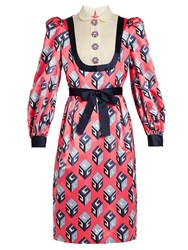 Gucci Gg Wallpaper Print Silk Satin Dress Pink Print