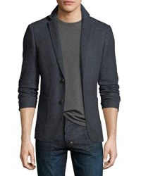 1 Like No Other Cotton Linen Knit Two Button Blazer Navy