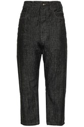 Rick Owens Drkshdw By Woman Cropped High Rise Straight Leg Jeans Black