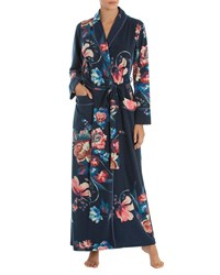 Jonquil Floral Print Long Robe Blue Pattern
