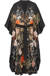 Meng Floral Print Silk Satin Robe Black