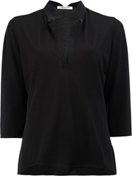 Lamberto Losani V Neck Band Collar Shirt Black