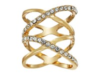 Guess Double Crisscross Pave Ring Gold Crystal Ring