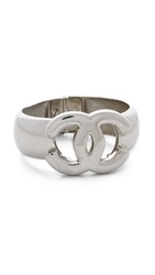 Wgaca Vintage Chanel Big Cc Bangle Bracelet Silver