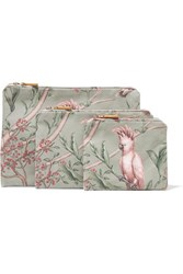 Aerin Beauty Johanna Ortiz Green Bird Set Of Three Printed Canvas Cosmetics Cases One Size