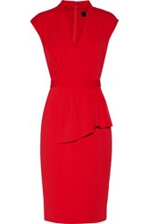 Badgley Mischka Pleated Wrap Effect Cady Dress Red