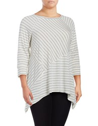 Calvin Klein Performance Plus Three Quarter Sleeve Crewneck Striped Tee Silver