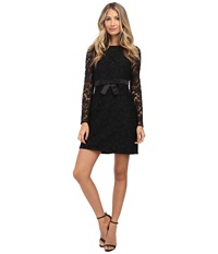 Jill Stuart Long Sleeve Floral Lace Short Dress Black Women's Dress