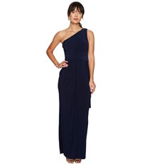 Adrianna Papell One Shoulder Jersey Draped Halter Gown Midnight Women's Dress Navy