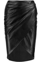 Bailey 44 Wrap Effect Faux Leather Skirt Black