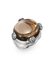 Pomellato 67 Smoky Quartz Marcasite And Sterling Silver Cabochon Ring