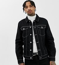 Heart And Dagger Denim Jacket With Contrast Stitch In Black