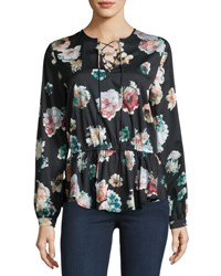 Neiman Marcus Floral Print Lace Up Blouse Black Pattern