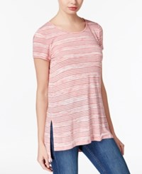 Kensie Striped High Low T Shirt A Macy's Exclusive Lipstick Red Combo