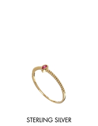 Asos Gold Plated Sterling Silver July Birthstone Ring Red