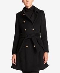 Dkny Double Breasted Fit And Flare Peacoat Black