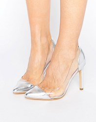 Truffle Collection Clear Upper Heel Shoe Silver Pu Vinyl