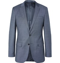 Hugo Boss Blue Slim Fit Pin Dot Wool Suit Navy