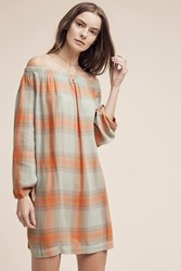 Anthropologie Off The Shoulder Plaid Tunic Turquoise