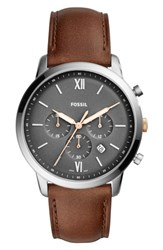 Fossil 'S Neutra Chronograph Leather Strap Watch 44Mm Brown Grey Silver