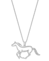Macy's Aspca Tender Voices Sterling Silver Necklace Diamond Accent Running Horse Pendant
