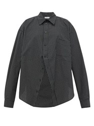 Balenciaga Swing Checked Cotton Poplin Shirt Black White