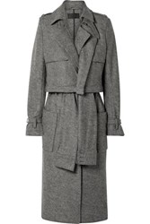 Rta Harlow Belted Wool Trench Coat Gray