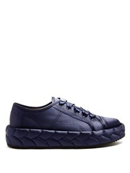 Marco De Vincenzo Quilted Satin Low Top Trainers Navy