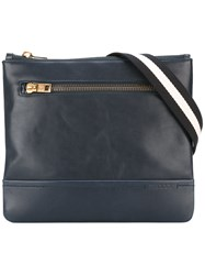 Bally Striped Strap Messenger Bag Blue