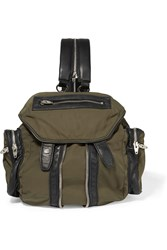 Alexander Wang Marti Mini Leather Trimmed Canvas Backpack Green