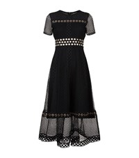 Maje Rome Eyelet Lace Midi Dress Female Grey