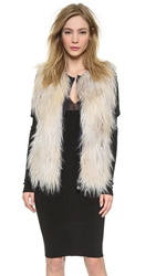 Wgaca Chanel Faux Fur Vest Off White