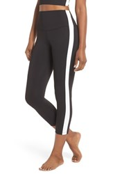 Splits59 Rose High Waist Capri Leggings Black Off White