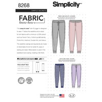 Simplicity Unisex Slim Fit Knit Joggers Sewing Pattern 8268 A