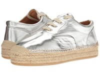 Maison Martin Margiela Metallic Platform Espadrille Silver Laminated Leather Women's Flat Shoes