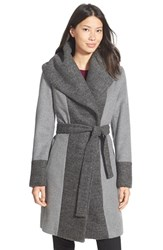 Women's Calvin Klein Boucle Trim Hooded Wrap Coat