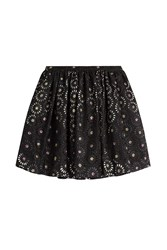 Marco De Vincenzo Embroidered Cotton Eyelet Skirt Black