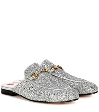 Gucci Princetown Glitter Coated Leather Slippers Silver
