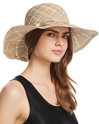 Aqua Two Tone Patterned Straw Sun Hat 100 Exclusive Natural White