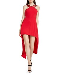 Halston Heritage Strappy High Low Crepe Dress Carmine